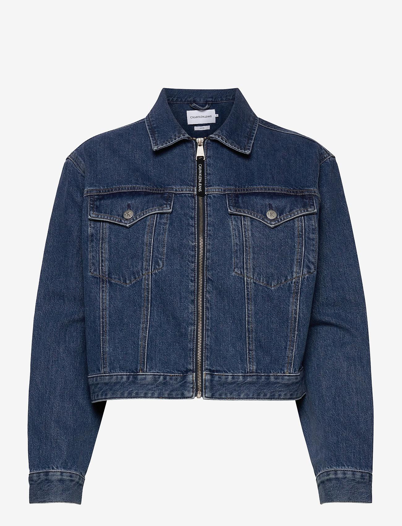 Calvin Klein Jeans - CROPPED FOUNDATION DENIM JACKET - jeansjakker - bb187 - icn mid blue zip - 0