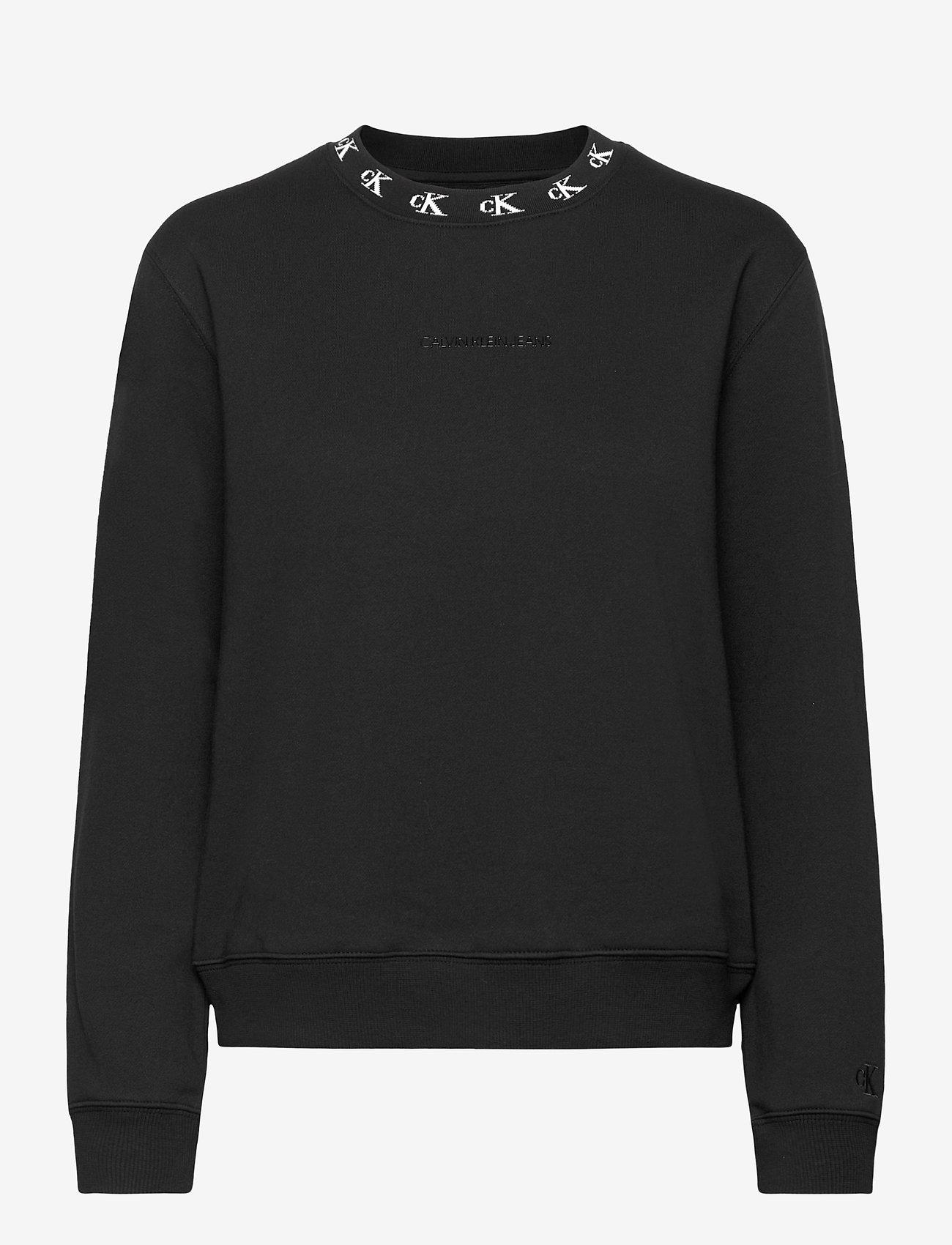 Calvin Klein Jeans - CK LOGO TRIM NECK CN - sweatshirts - ck black - 0