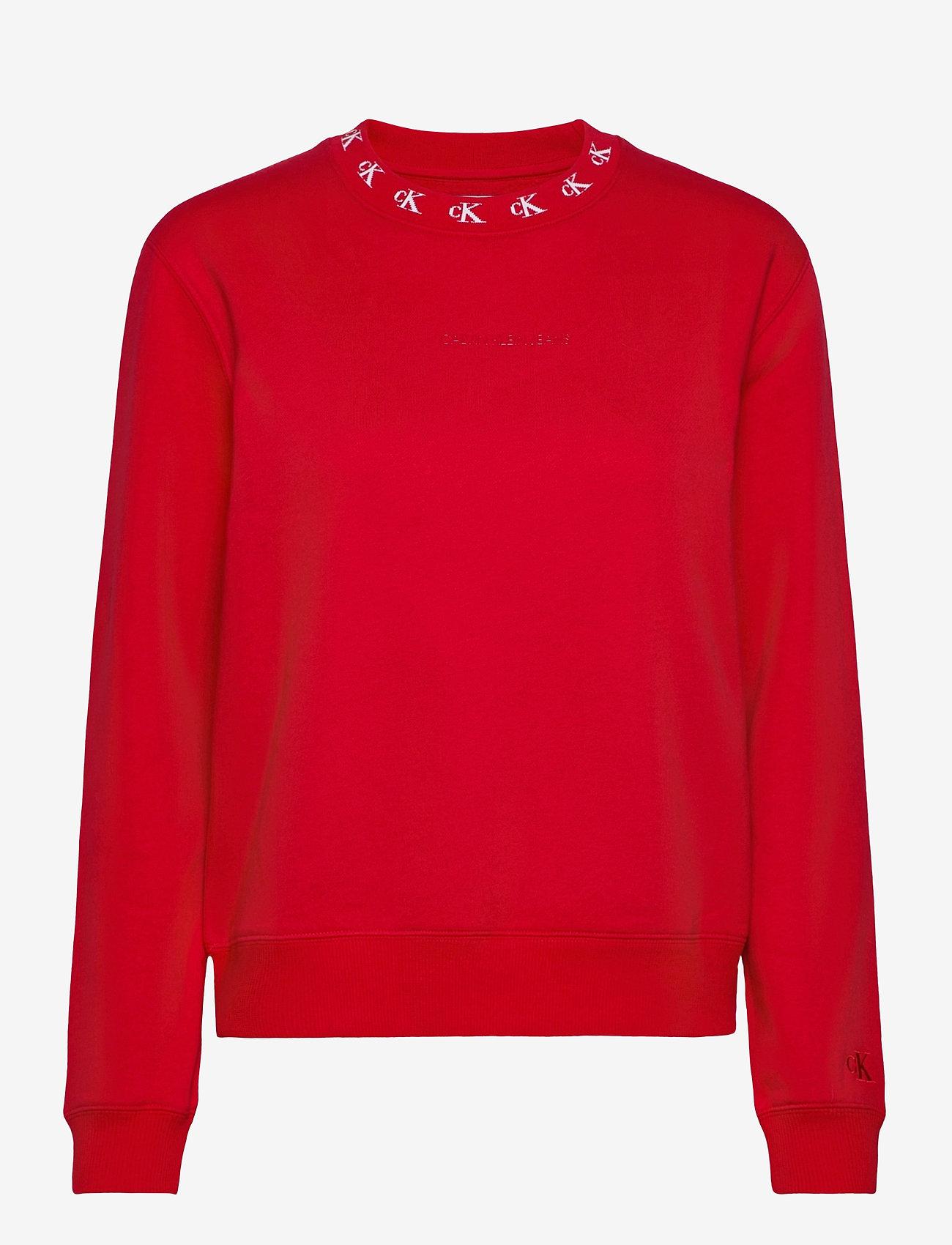 Calvin Klein Jeans - CK LOGO TRIM NECK CN - sweatshirts - red hot - 0