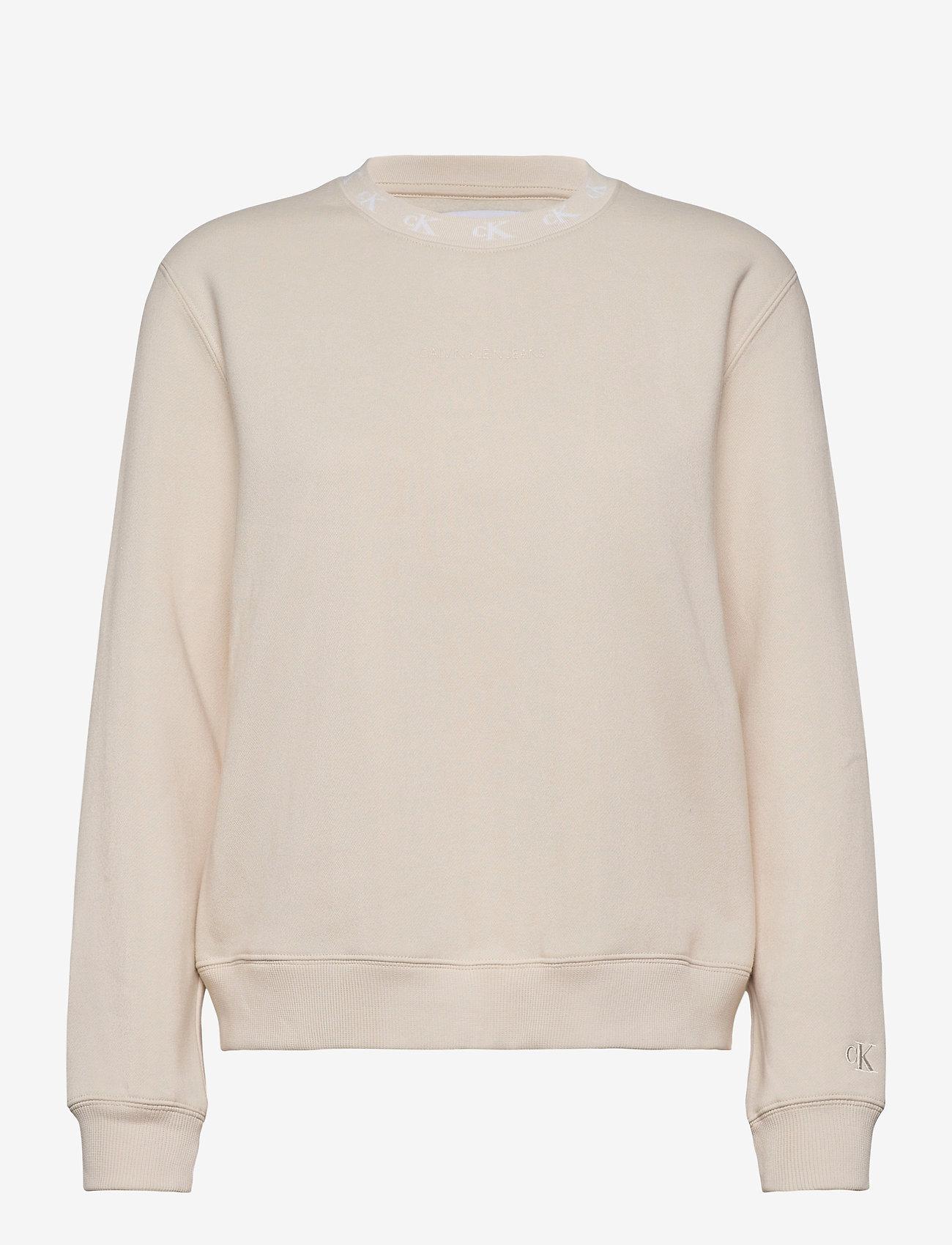 Calvin Klein Jeans - CK LOGO TRIM NECK CN - sweatshirts - soft cream - 0
