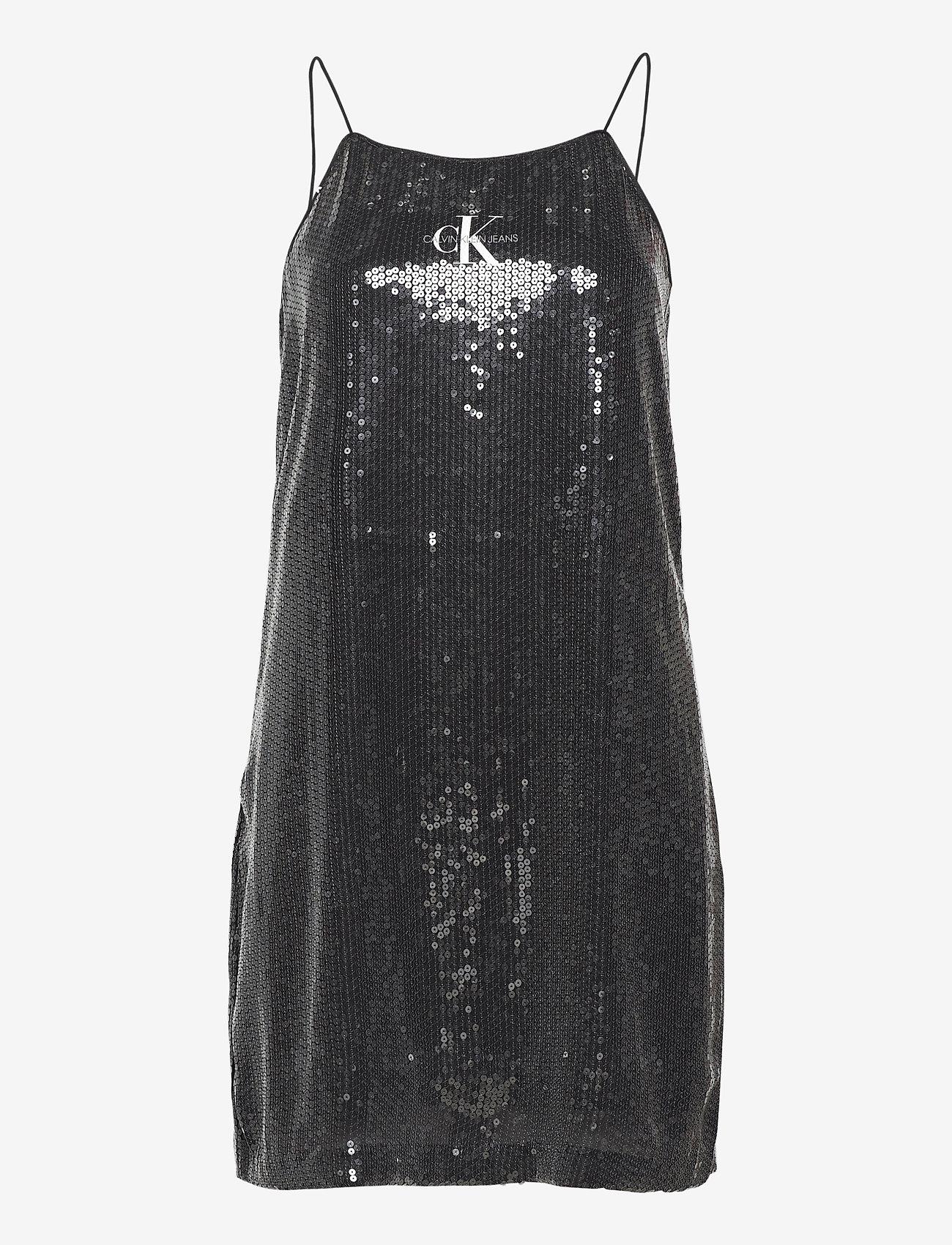 Calvin Klein Jeans - SEQUIN LOGO STRAP DRESS - festkjoler - ck black - 0