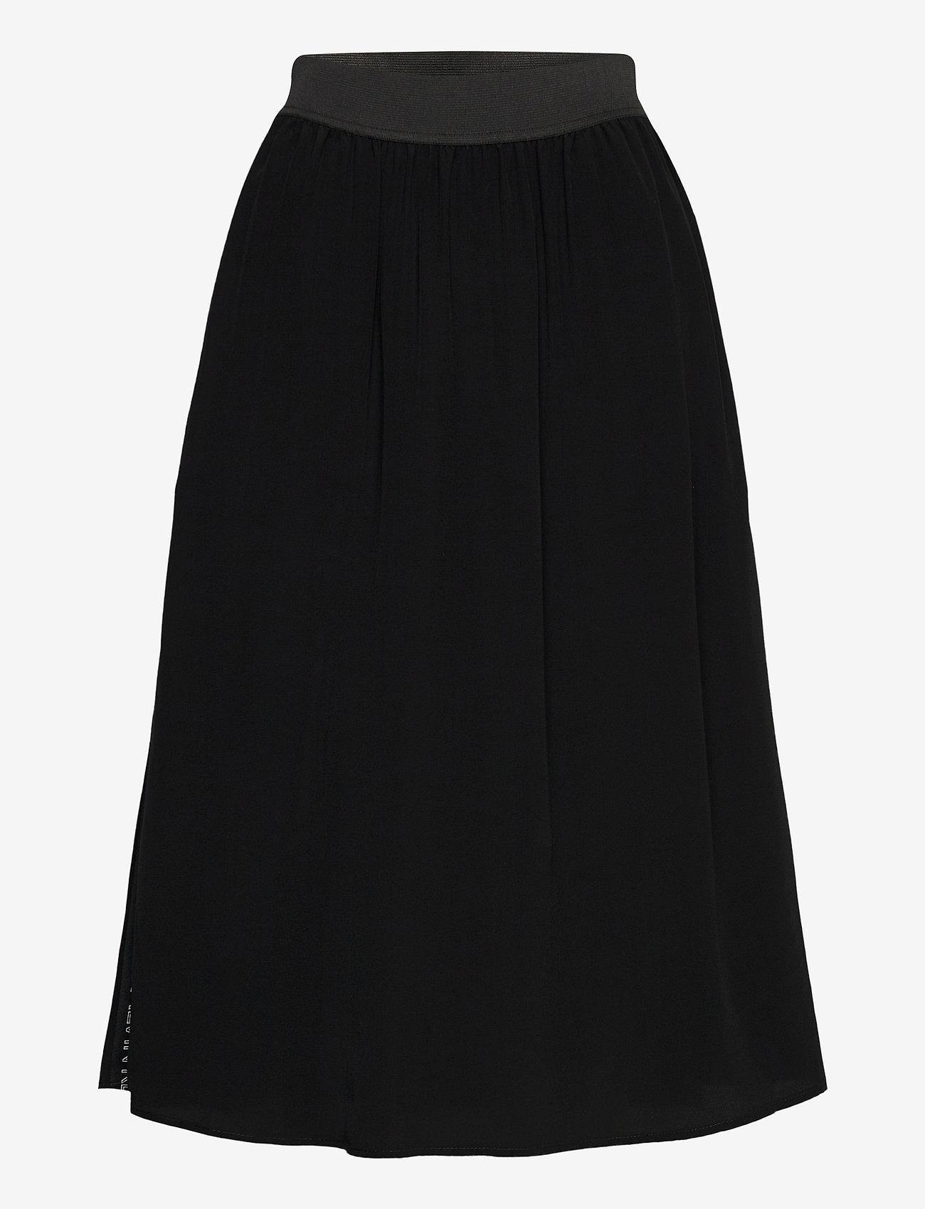 Calvin Klein Jeans - OUTLINE LOGO DRAPEY SKIRT - midi skjørt - ck black - 0