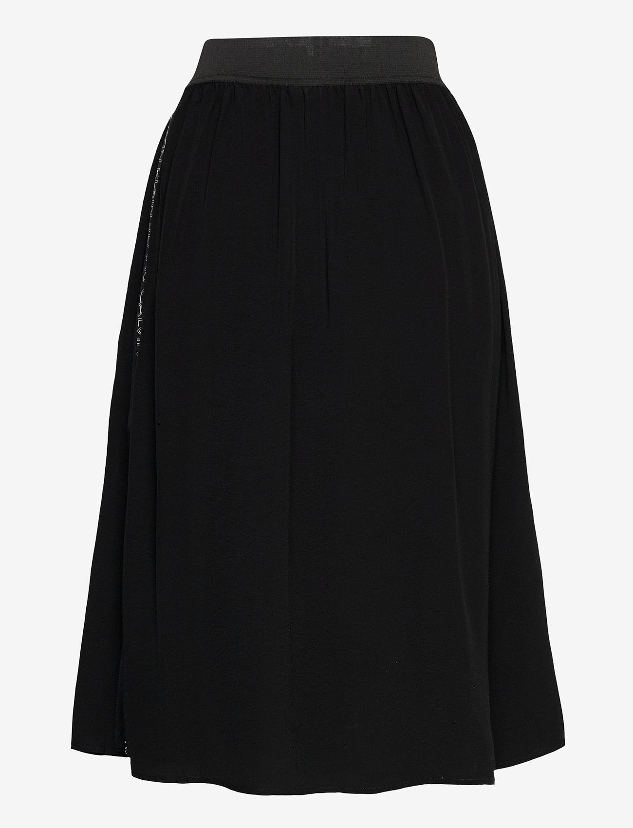 Calvin Klein Jeans - OUTLINE LOGO DRAPEY SKIRT - midi skjørt - ck black - 1