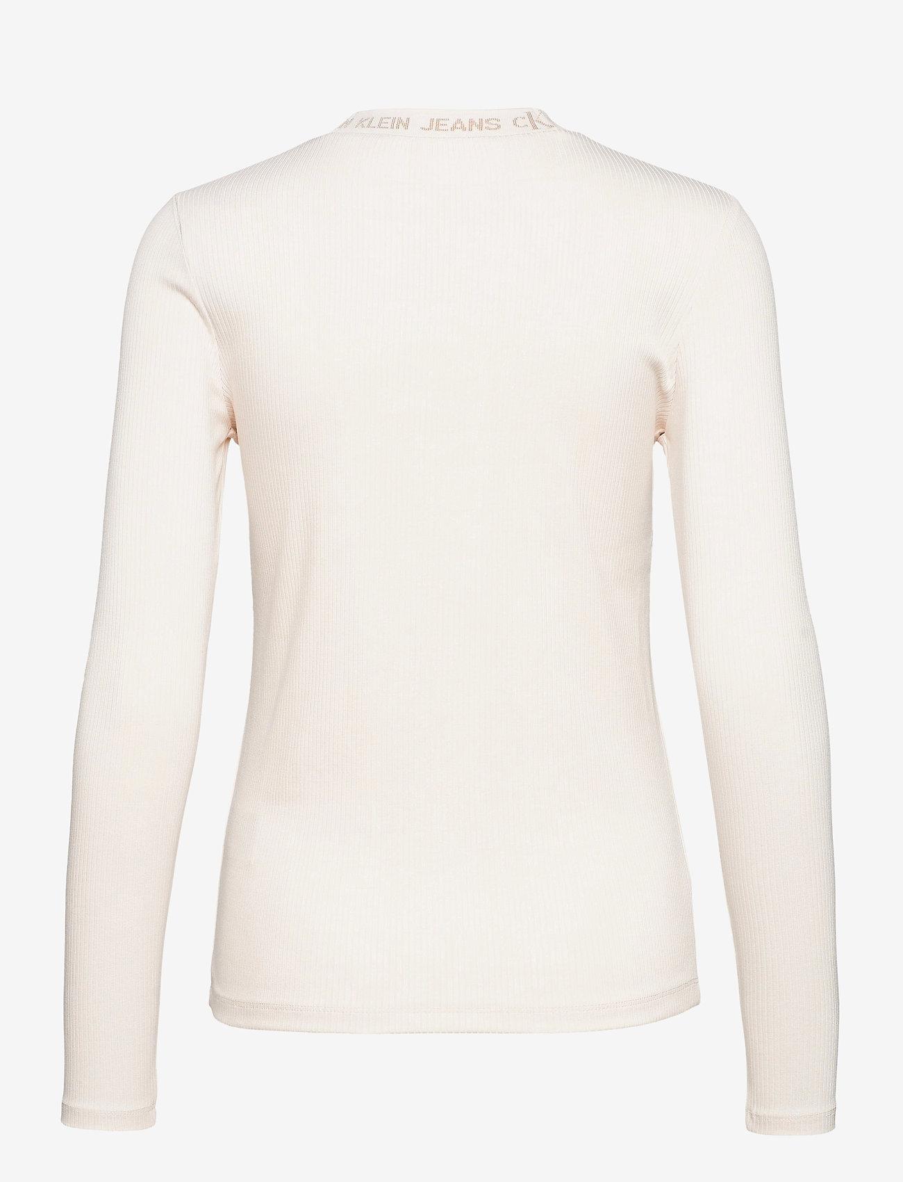 Calvin Klein Jeans - LOGO TRIM RIB LONG SLEEVES - langermede topper - white sand - 0