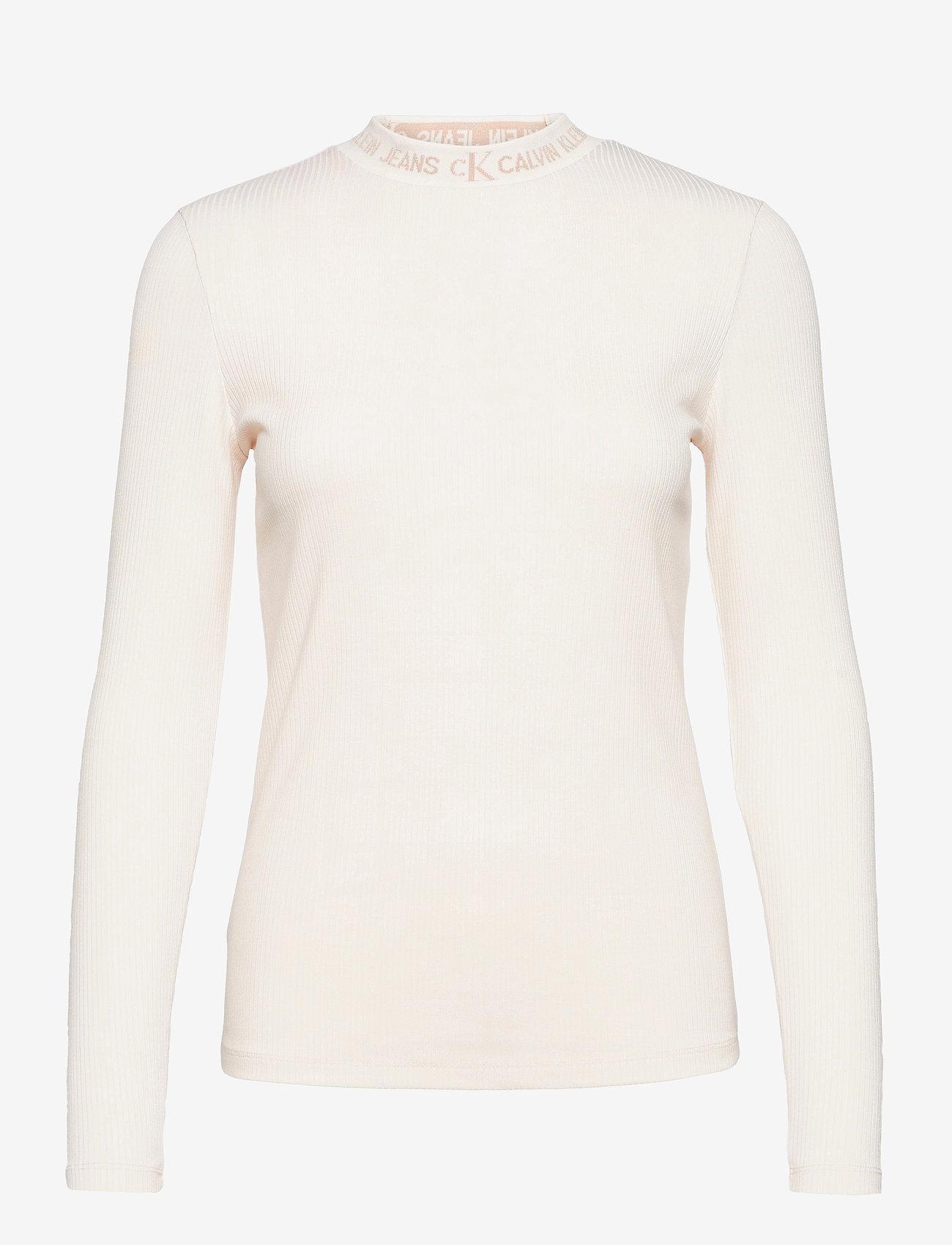 Calvin Klein Jeans - LOGO TRIM RIB LONG SLEEVES - langermede topper - white sand - 1
