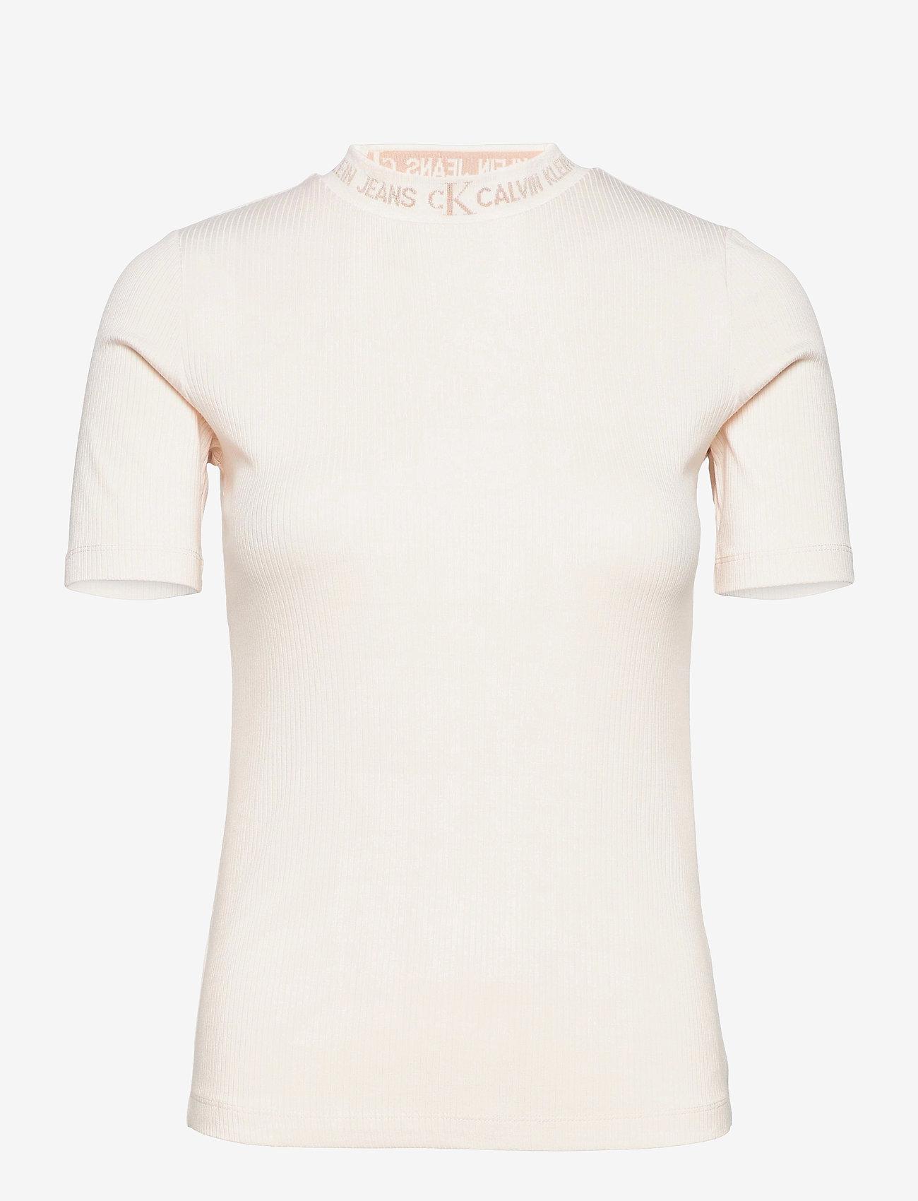 Calvin Klein Jeans - LOGO TRIM RIB TEE - strikkede topper - white sand - 0