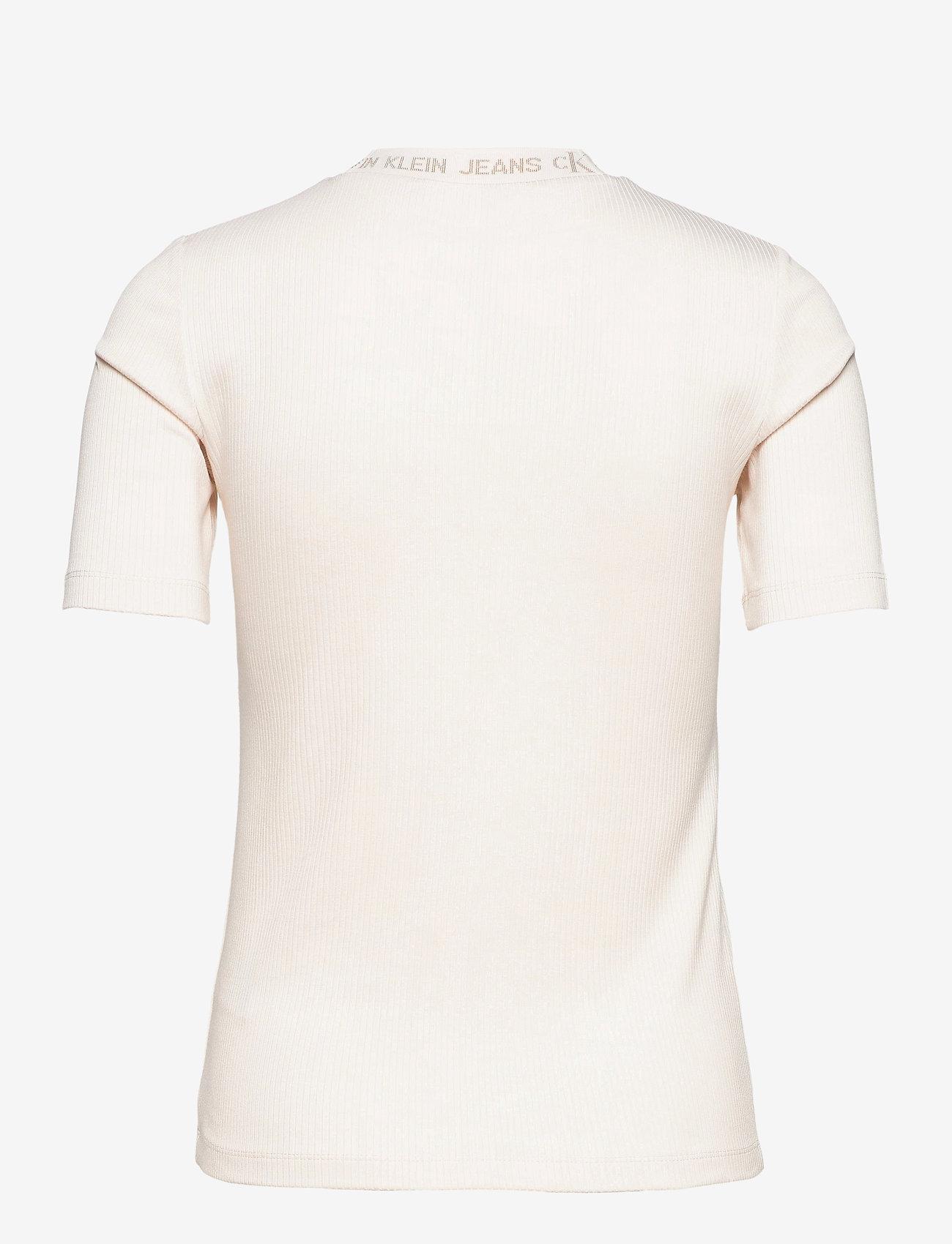 Calvin Klein Jeans - LOGO TRIM RIB TEE - strikkede topper - white sand - 1