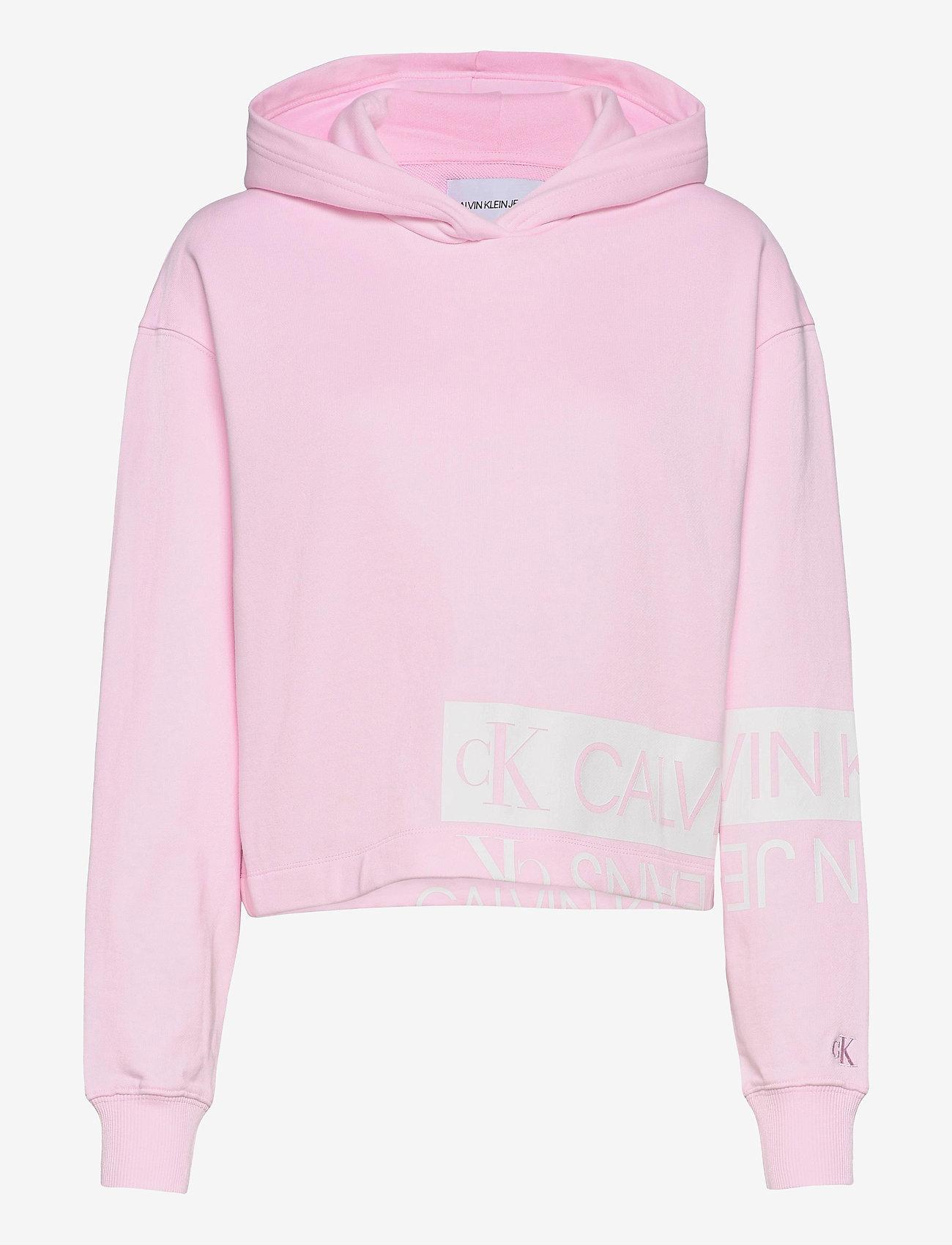 Calvin Klein Jeans - MIRRORED LOGO HOODIE - gensere og hettegensere - pearly pink / bright white - 0