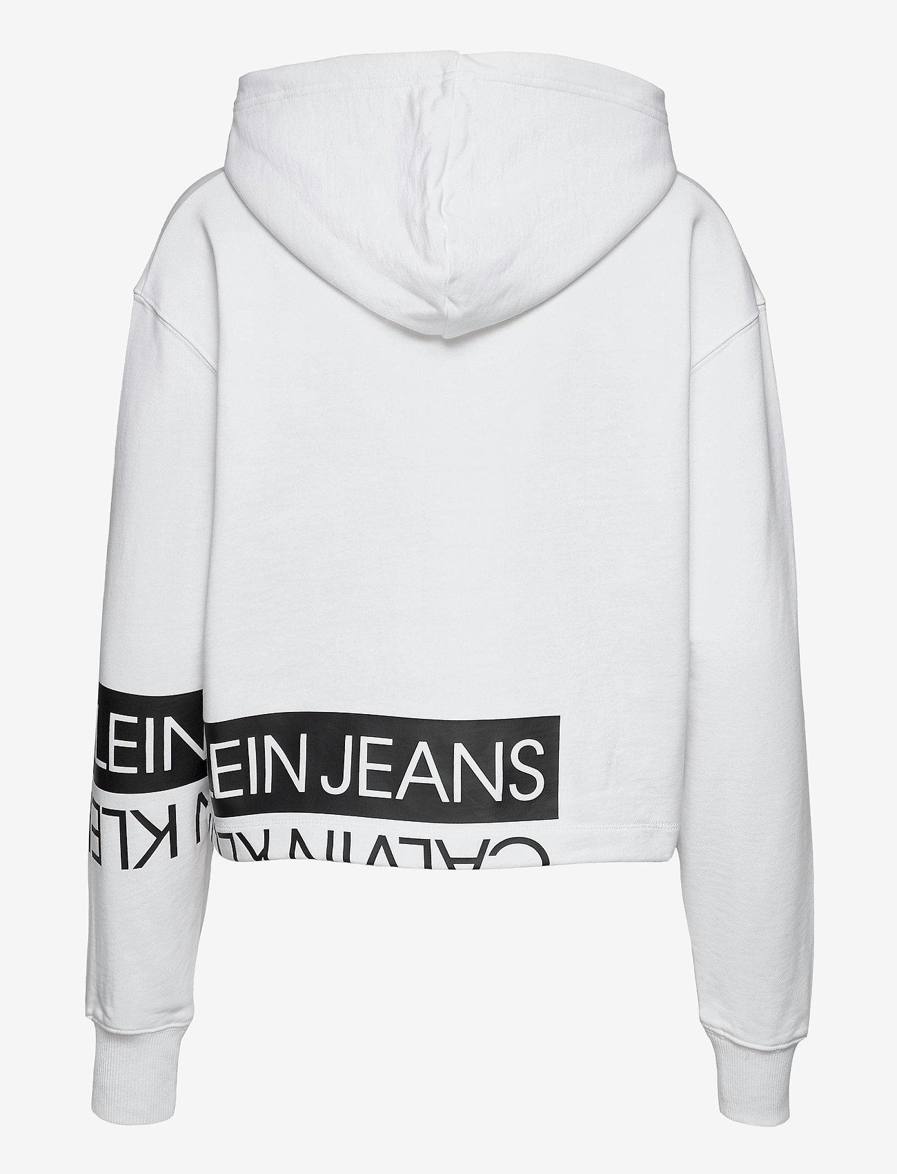 Calvin Klein Jeans - MIRRORED LOGO HOODIE - gensere og hettegensere - bright white / ck black - 1