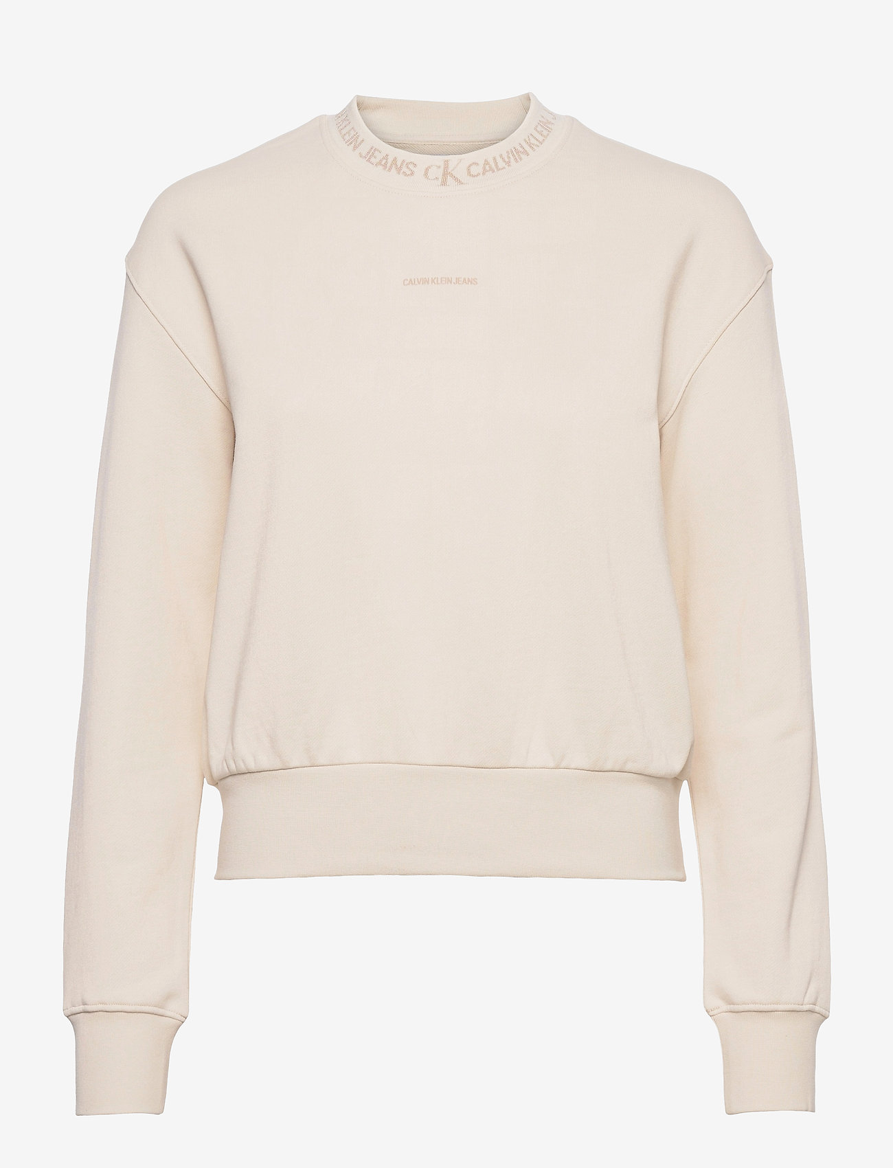 Calvin Klein Jeans - LOGO TRIM CREW NECK SWEATSHIRT - gensere og hettegensere - white sand - 0