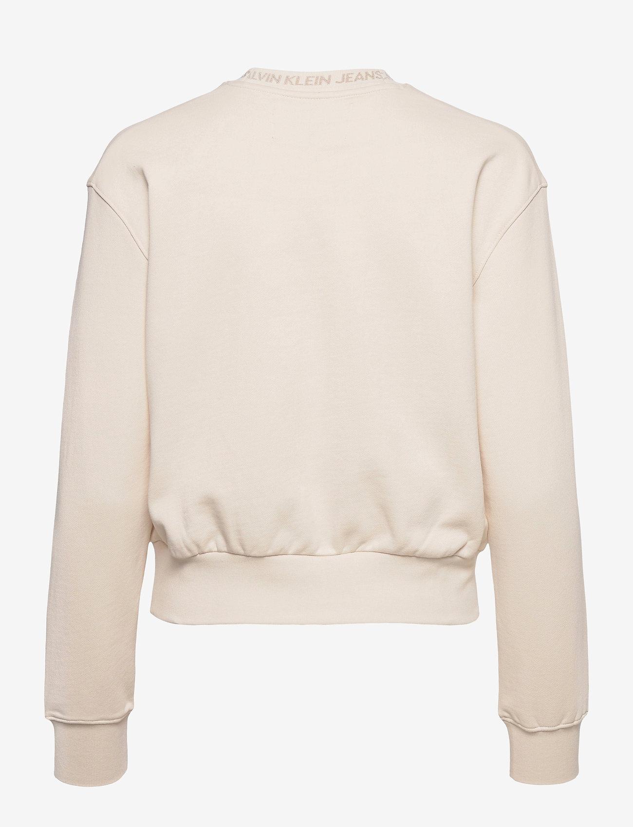 Calvin Klein Jeans - LOGO TRIM CREW NECK SWEATSHIRT - gensere og hettegensere - white sand - 1