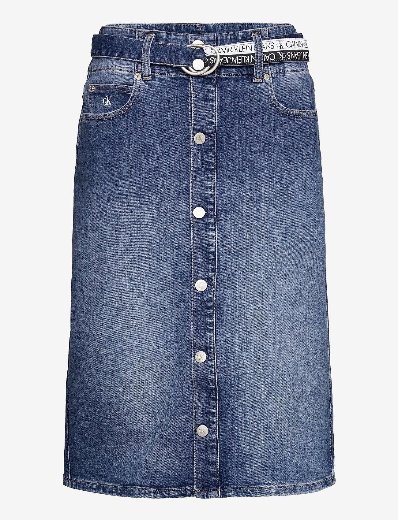 Calvin Klein Jeans - HIGH RISE MIDI SKIRT - denimskjørt - denim dark - 0