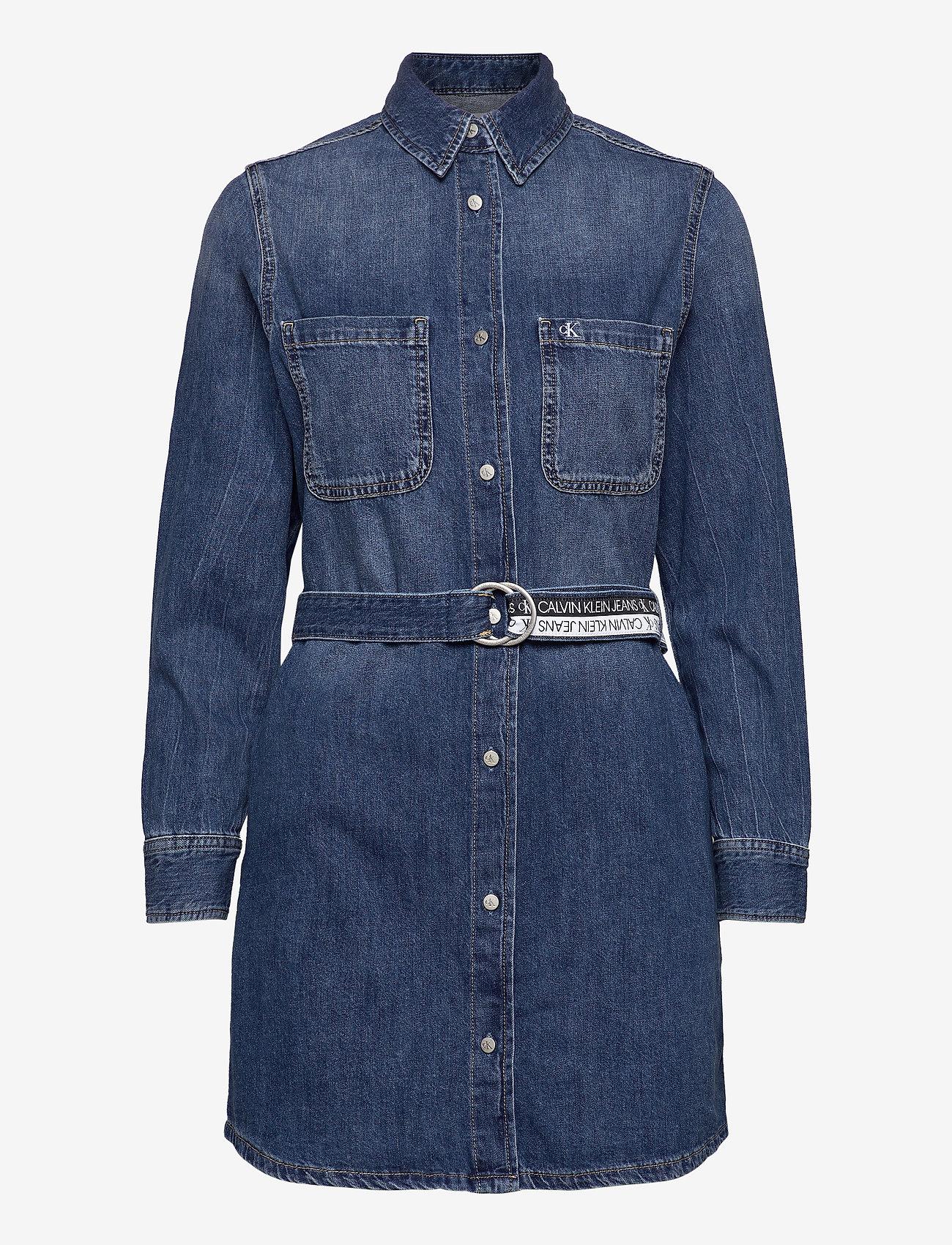 Calvin Klein Jeans - RELAXED SHIRT DRESS - skjortekjoler - denim dark - 0