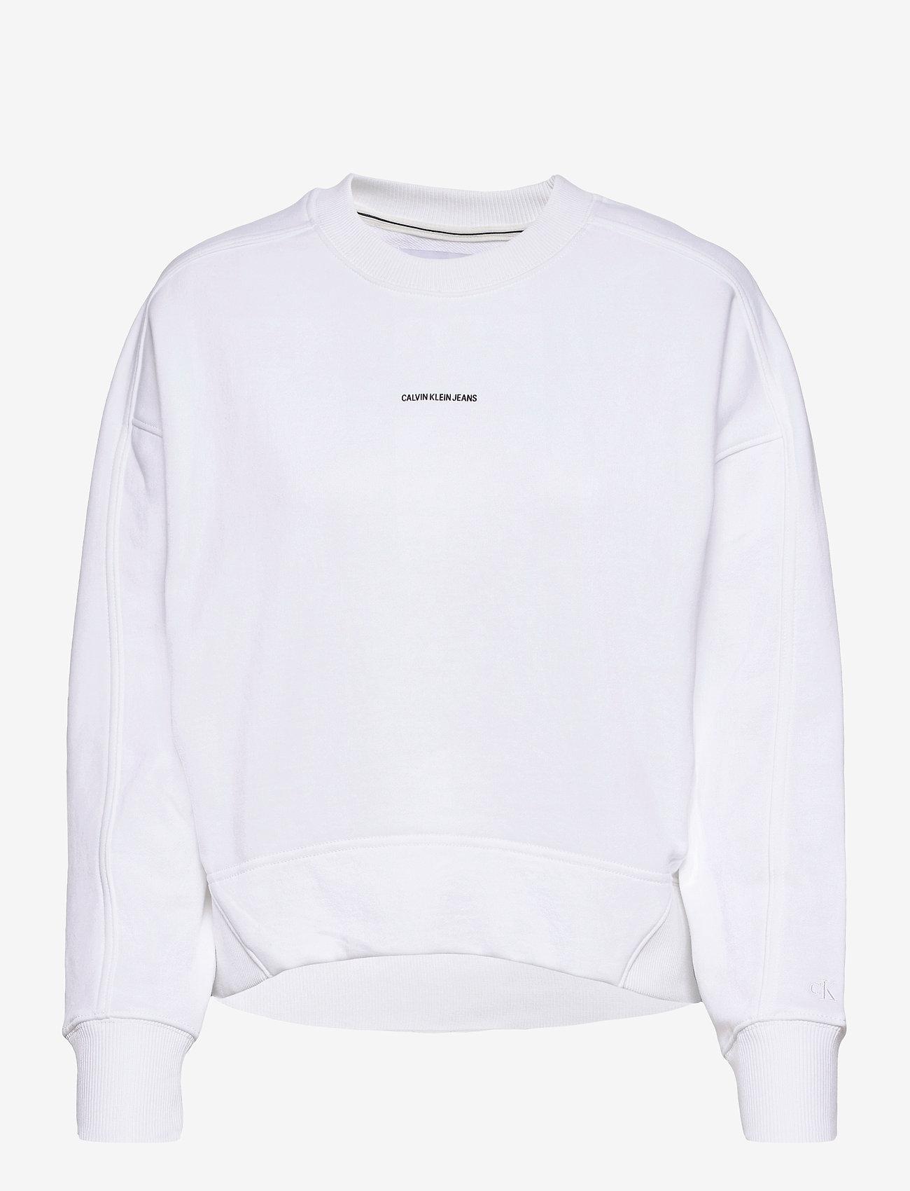 Calvin Klein Jeans - MICRO BRANDING SWEATSHIRT - gensere og hettegensere - bright white - 0