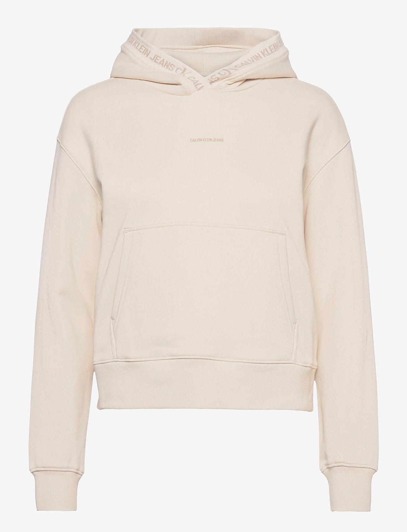 Calvin Klein Jeans - LOGO TRIM HOODIE - gensere og hettegensere - white sand - 0