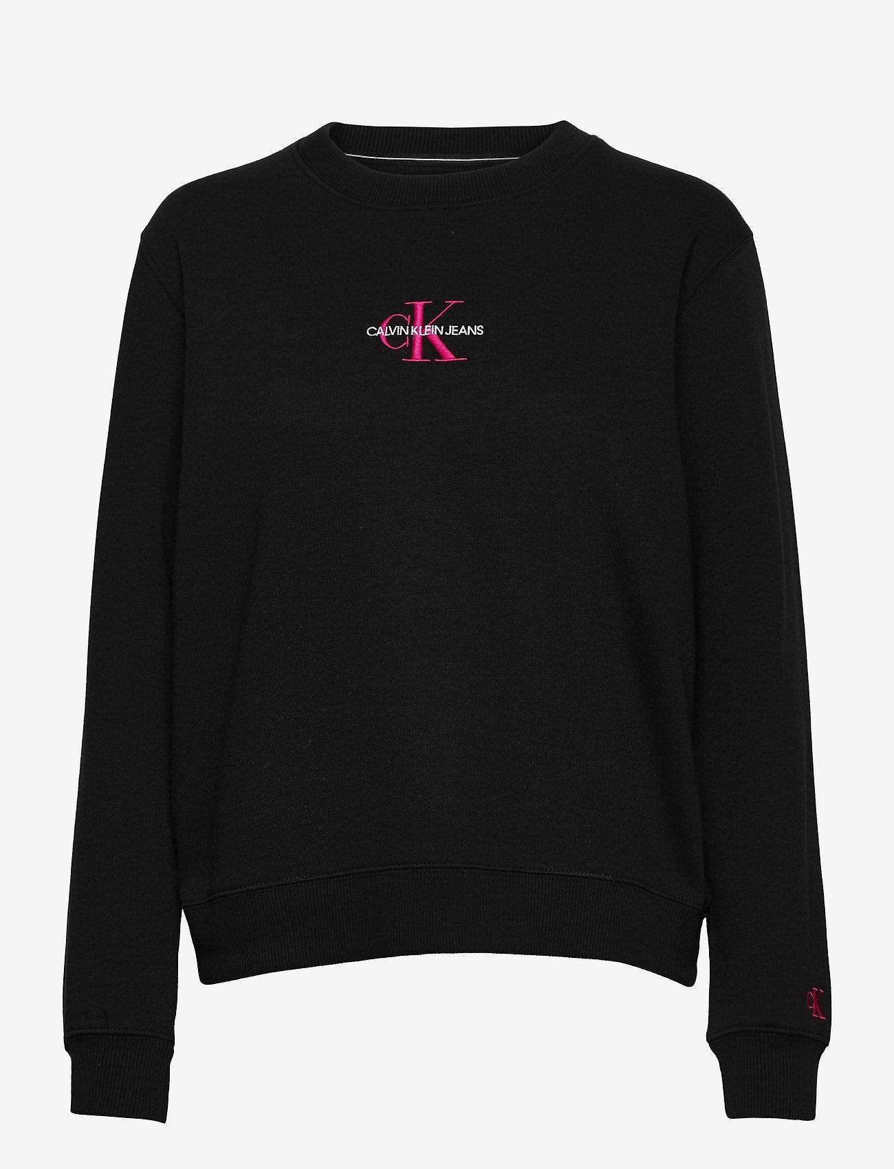 Calvin Klein Jeans - MONOGRAM LOGO CREW NECK - sweatshirts - ck black/party pink - 0