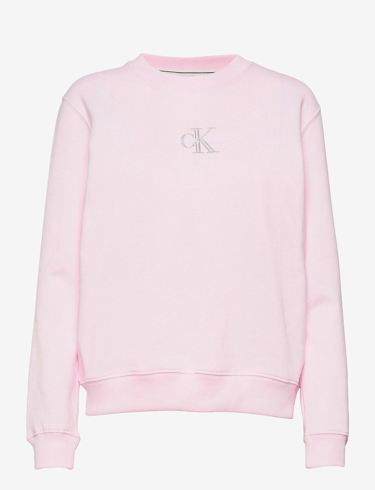 Calvin Klein Jeans - MONOGRAM LOGO CREW NECK - sweatshirts - pearly pink/quiet grey - 0
