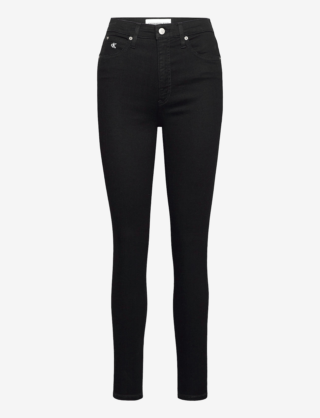 Calvin Klein Jeans - HIGH RISE SUPER SKINNY ANKLE - skinny jeans - denim black - 0