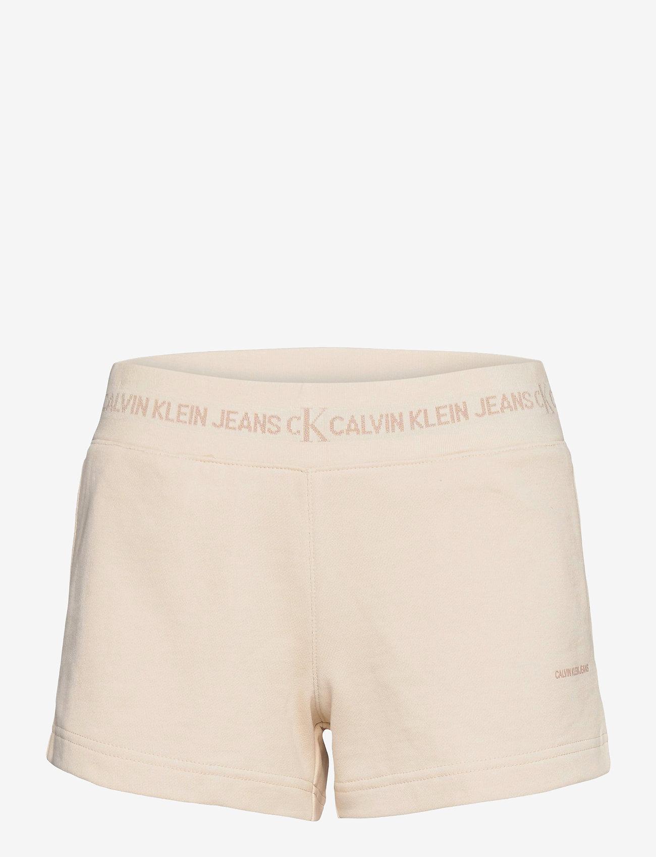 Calvin Klein Jeans - LOGO TRIM KNIT SHORT - casual shorts - white sand - 0