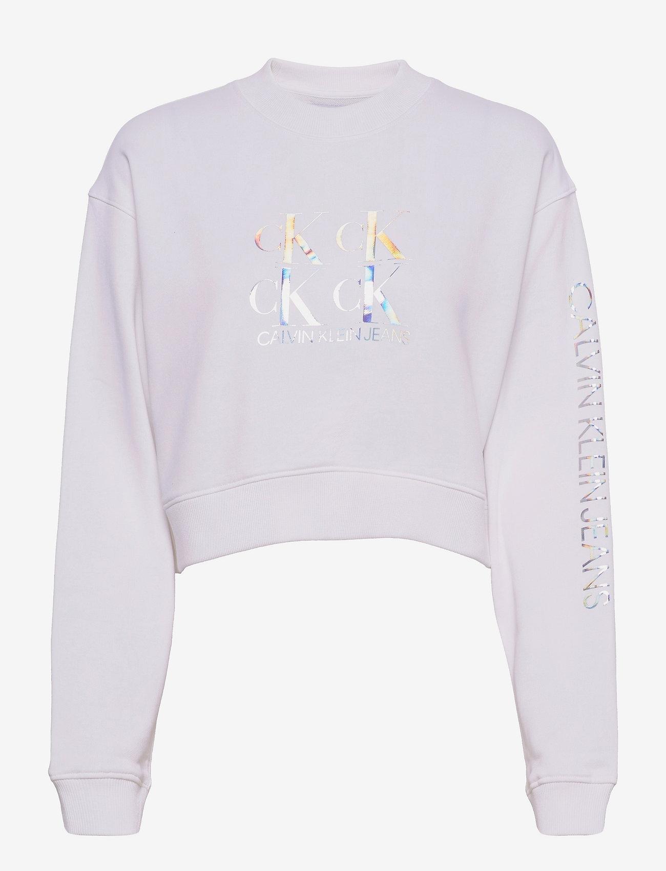 Calvin Klein Jeans - SHINE LOGO CREW NECK - sweatshirts & hættetrøjer - bright white - 0