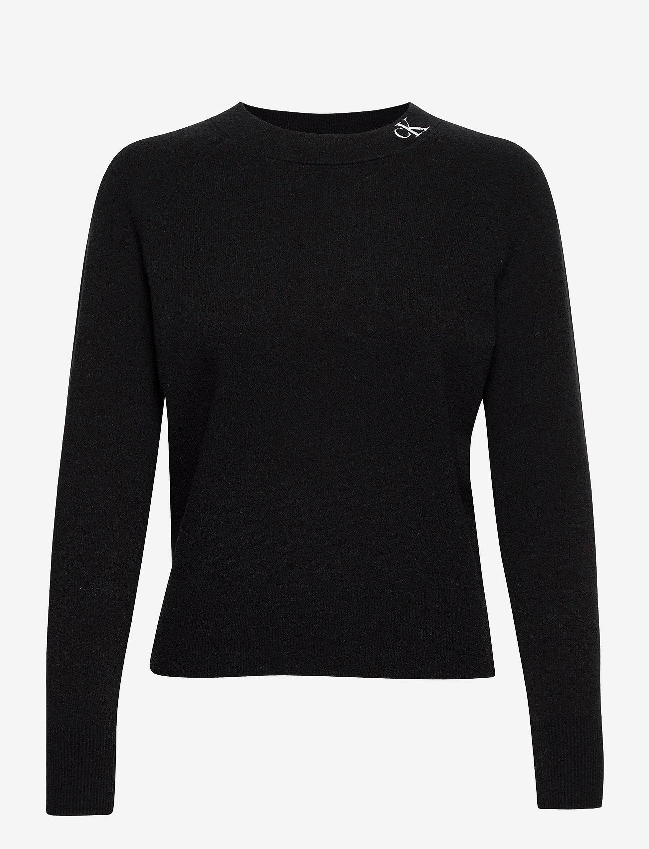 Calvin Klein Jeans - NECK LOGO FLUFFY SWEATER - gensere - ck black - 0