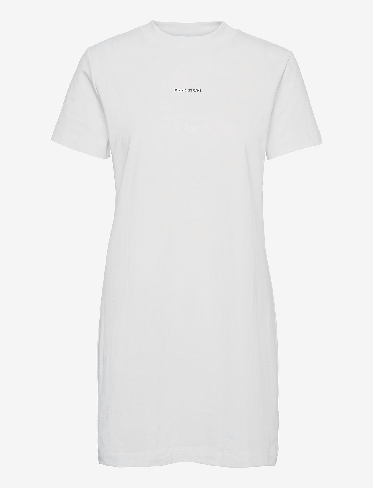 Calvin Klein Jeans - MICRO BRANDING T-SHIRT DRESS - sommerkjoler - bright white - 0