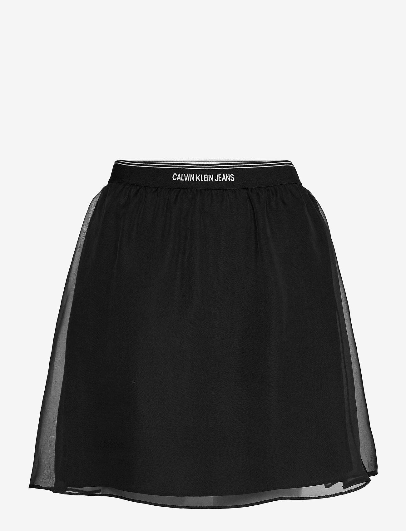 Calvin Klein Jeans - LOGO WAISTBAND CHIFFON SKIRT - korta kjolar - ck black - 0