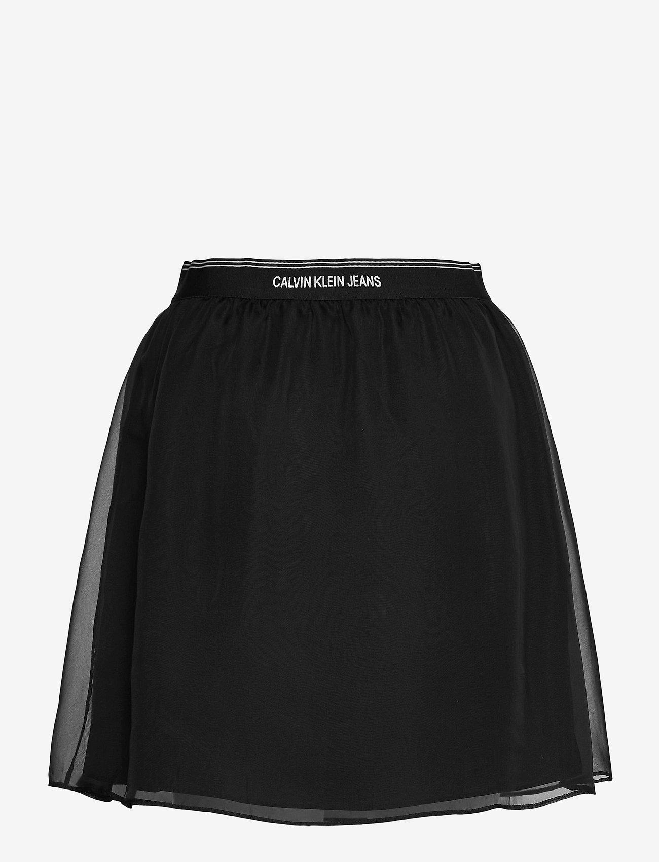 Calvin Klein Jeans - LOGO WAISTBAND CHIFFON SKIRT - korta kjolar - ck black - 1