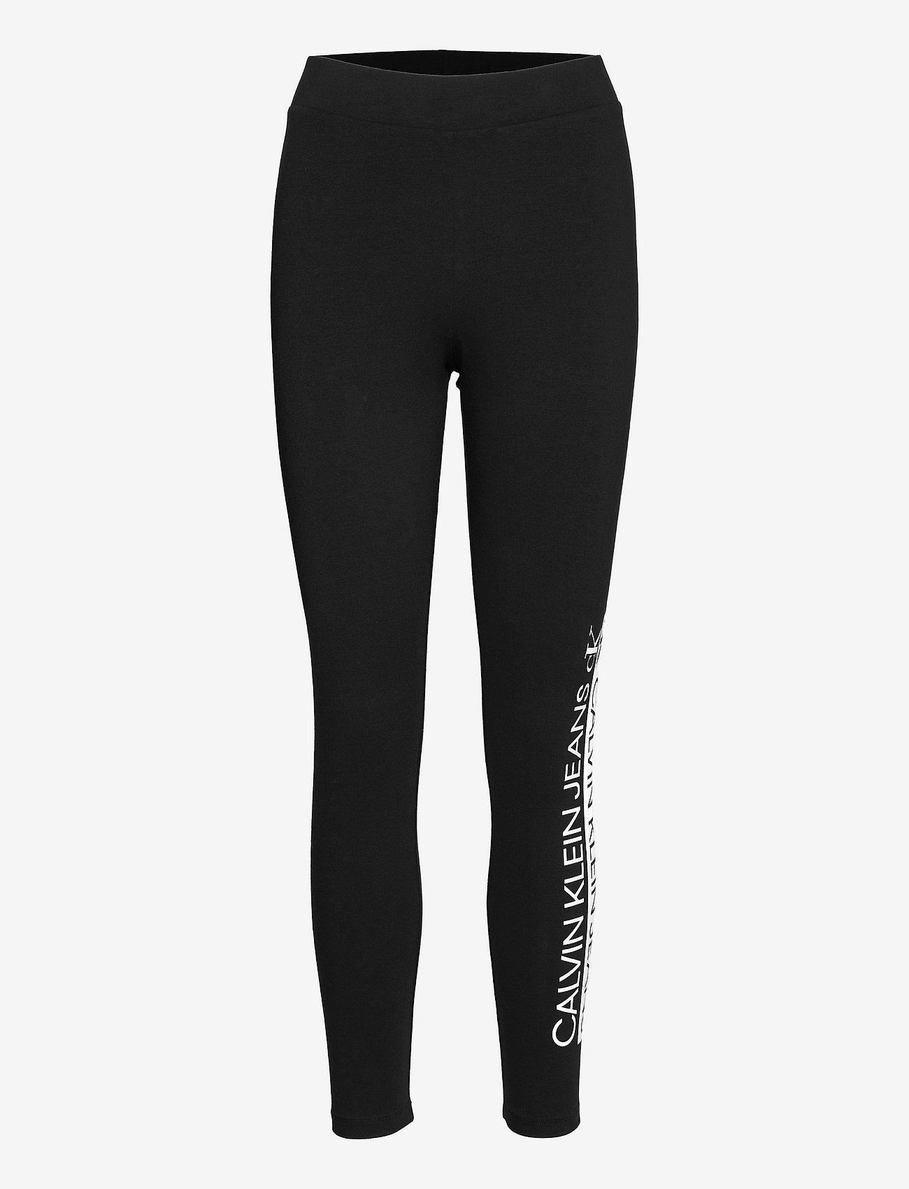 Calvin Klein Jeans - MIRRORED LOGO LEGGING - leggings - ck black - 0