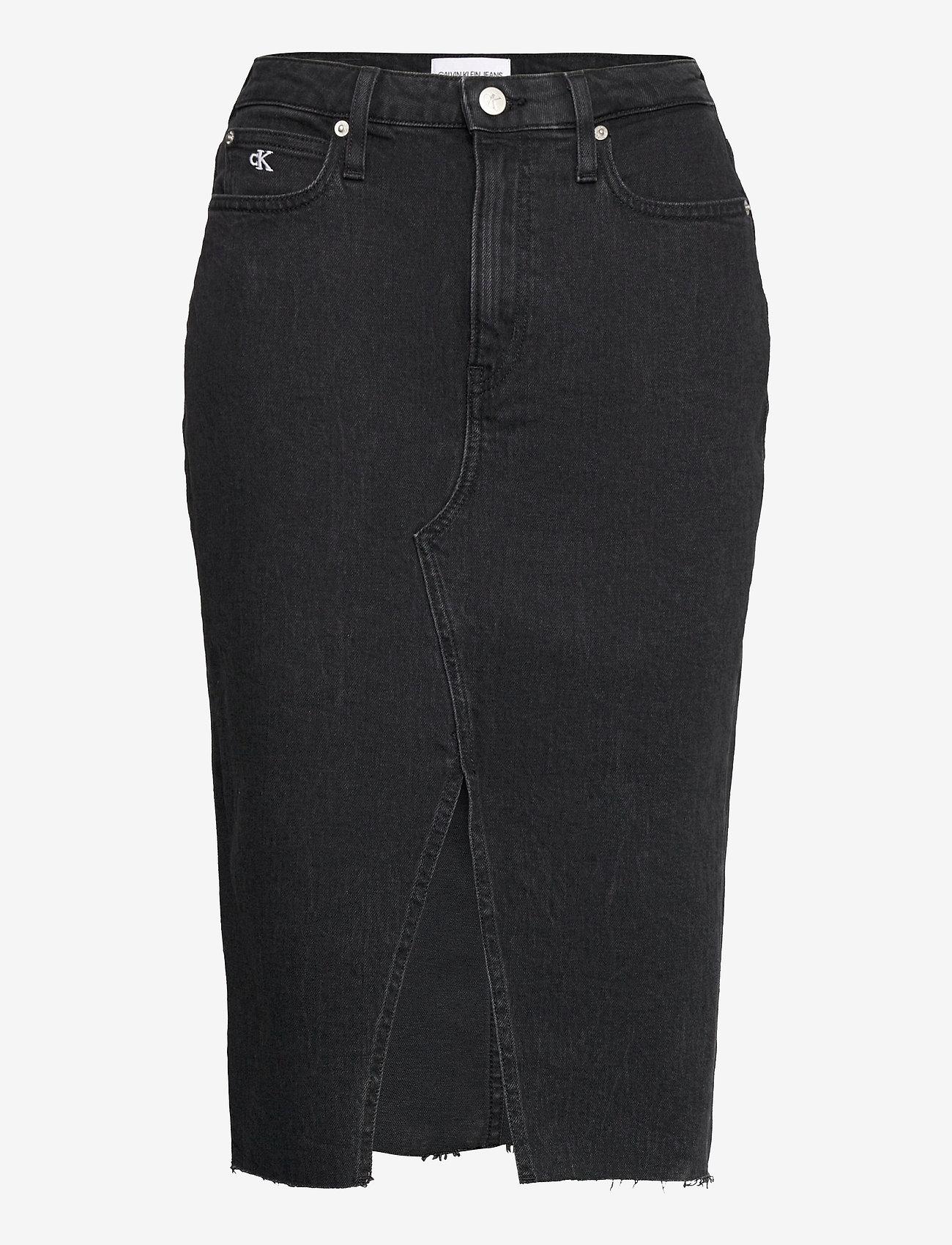 Calvin Klein Jeans - HIGH RISE MIDI SKIRT - denimskjørt - denim black - 0