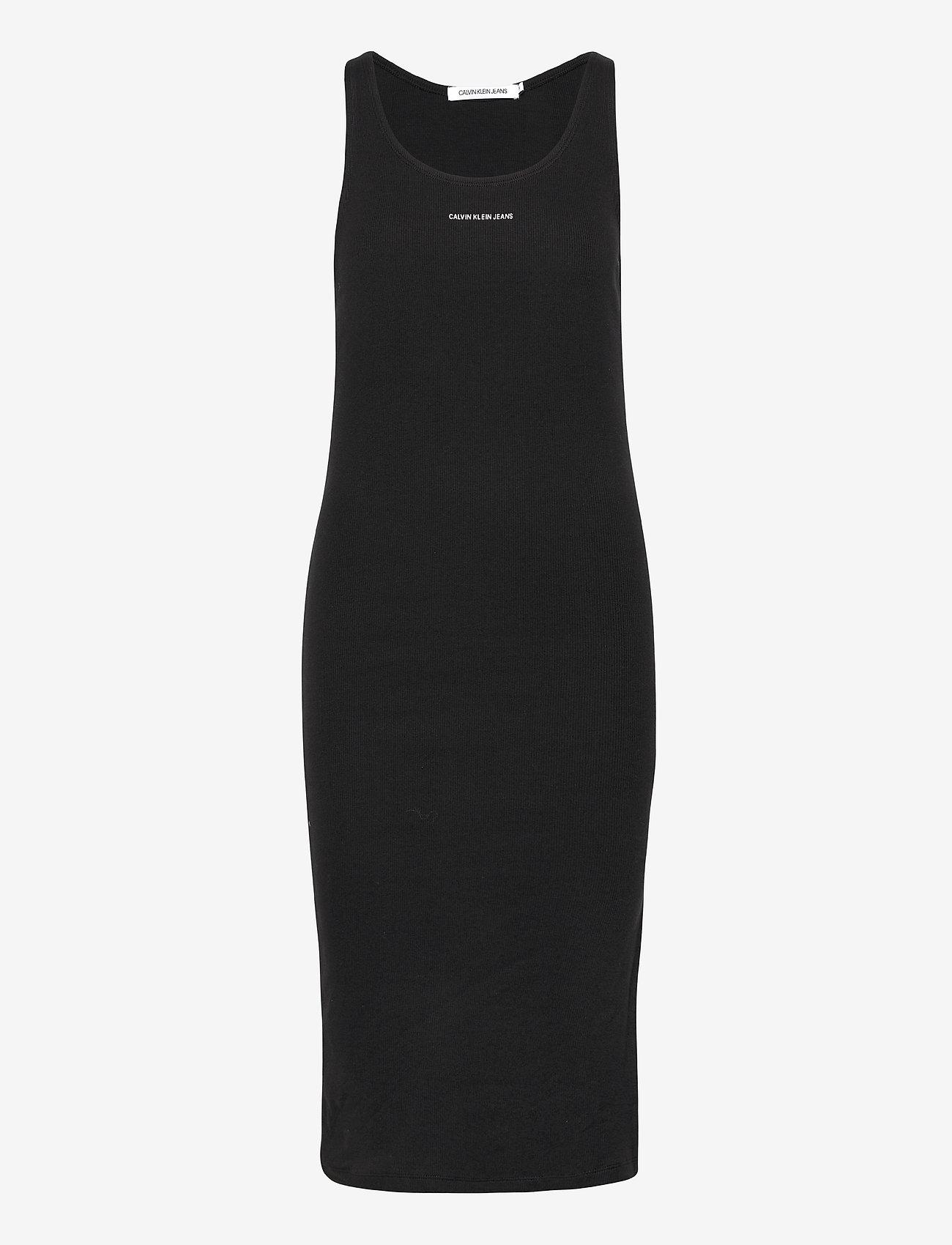 Calvin Klein Jeans - MICRO BRANDING STRAPPY RIB DRESS - sommerkjoler - ck black - 0