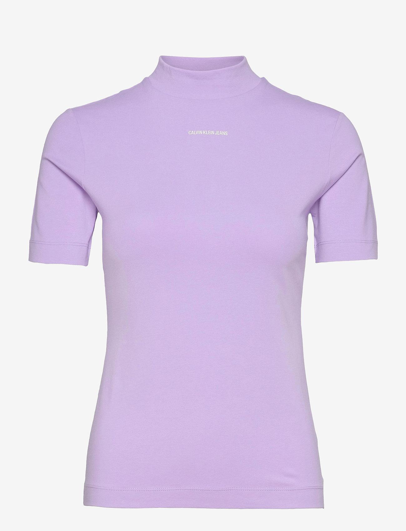 Calvin Klein Jeans - MICRO BRANDING STRETCH MOCK NECK - t-shirts - palma lilac - 0