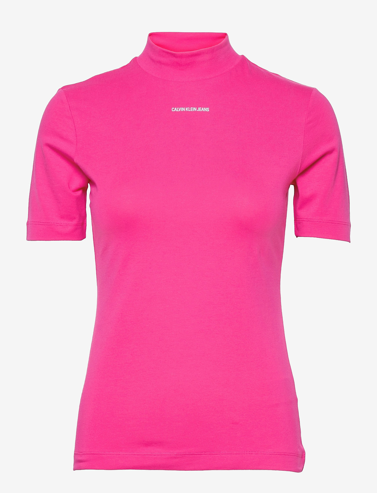 Calvin Klein Jeans - MICRO BRANDING STRETCH MOCK NECK - t-shirts - party pink - 0