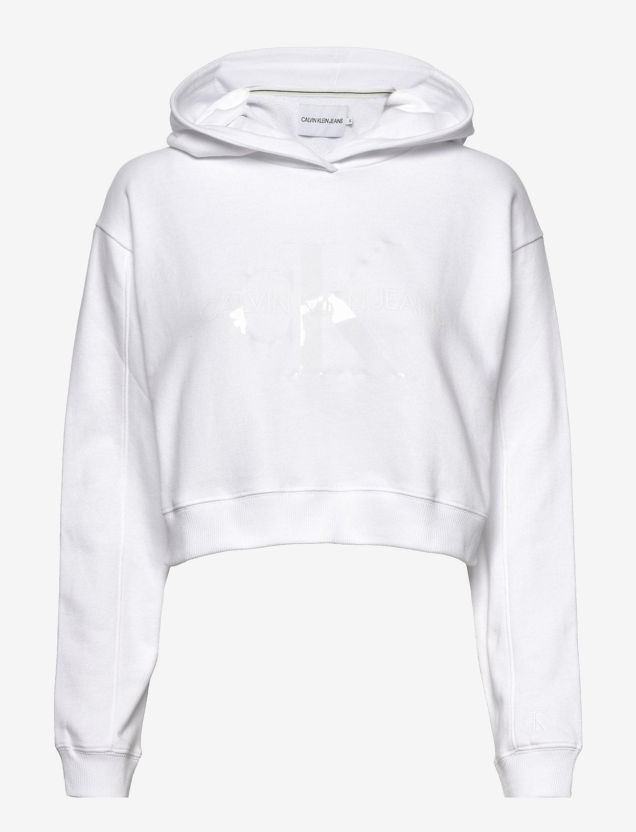 Calvin Klein Jeans - TONAL MONOGRAM HOODIE - sweatshirts & hættetrøjer - bright white - 0