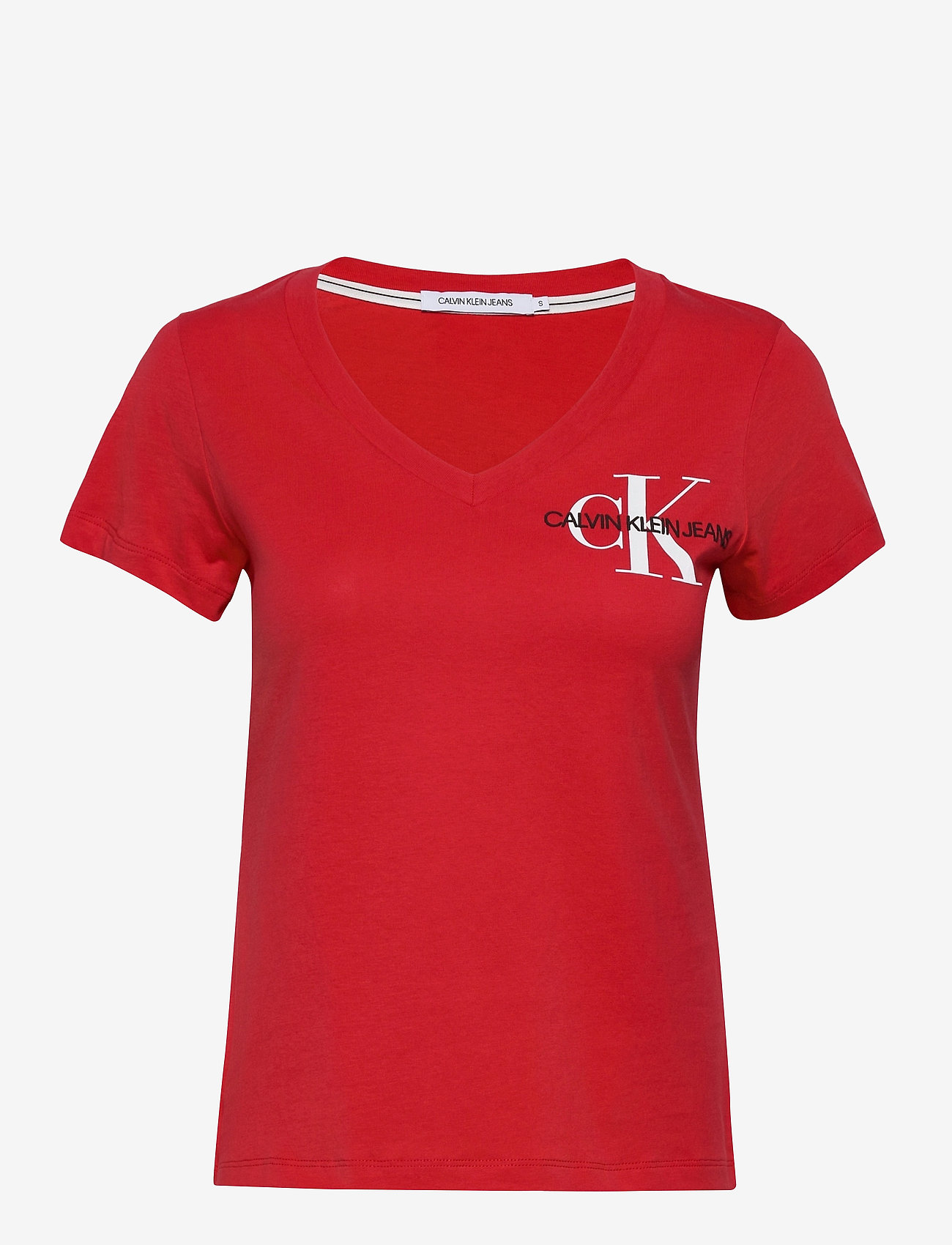 Calvin Klein Jeans - SS V NECK MONOGRAM TEE - t-shirts - racing red - 0