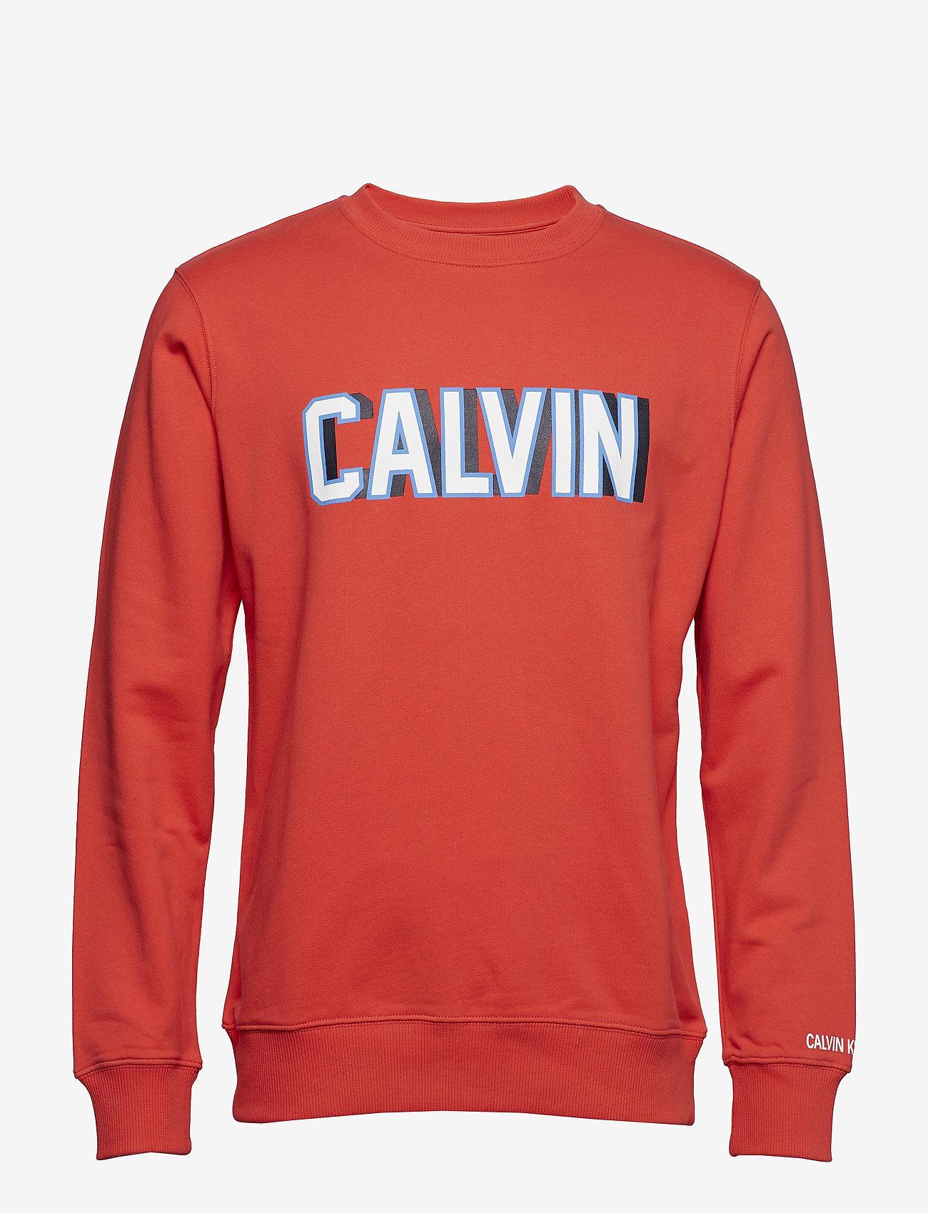Calvin Klein Jeans - CALVIN LOGO CREW NECK - sweatshirts - tomato