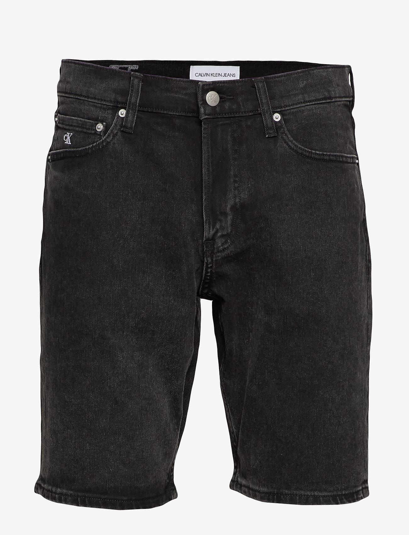 Calvin Klein Jeans - SLIM SHORT - denim shorts - da119 black with embro - 0