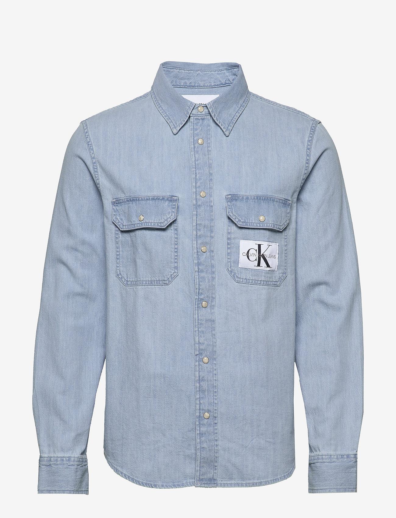 Calvin Klein Jeans - MODERN UTILITY SHIRT - denim overhemden - da040 bleached blue with embro - 0