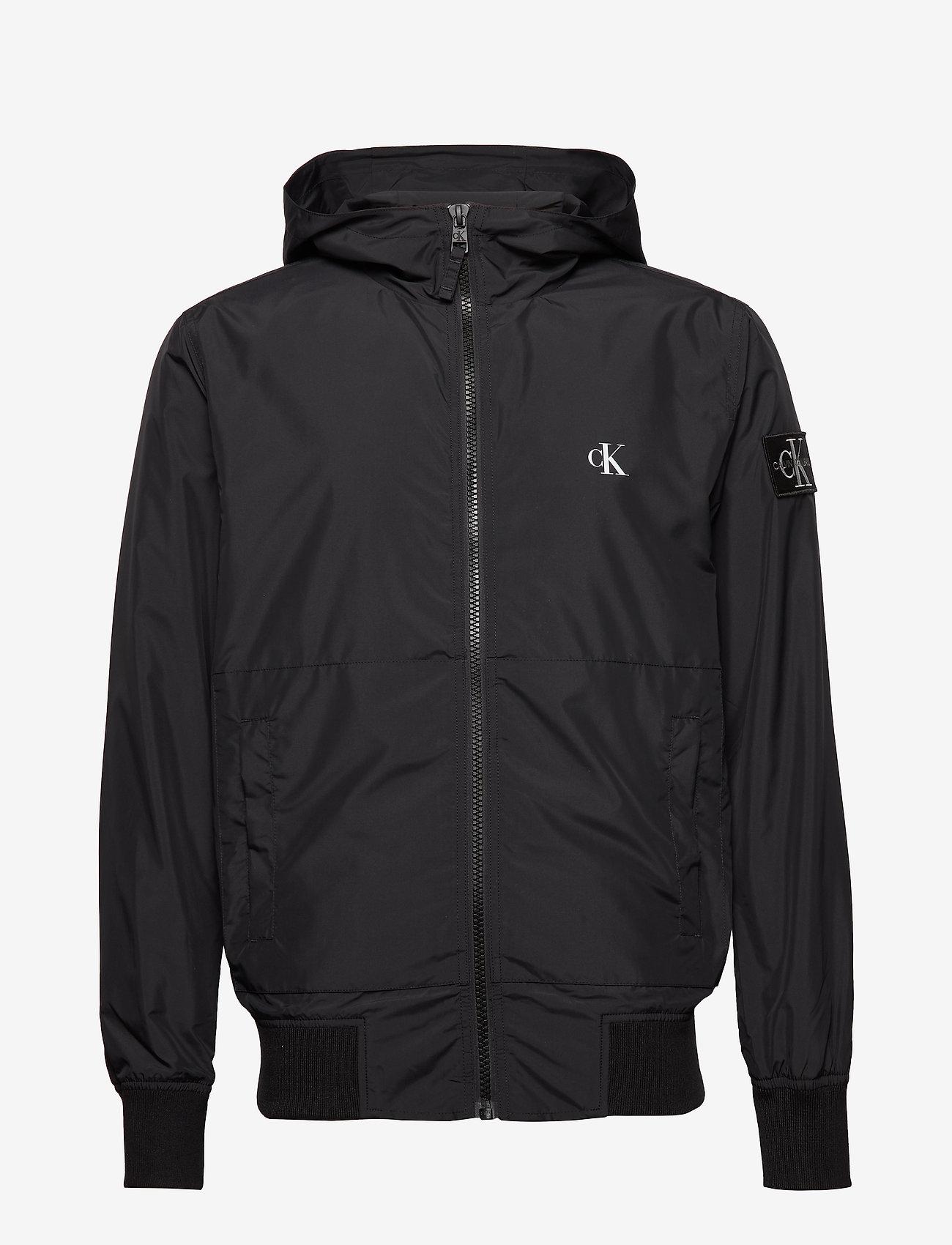 Calvin Klein Jeans - HOODED BLOCKING NYLON JACKET - light jackets - ck black/white - 1