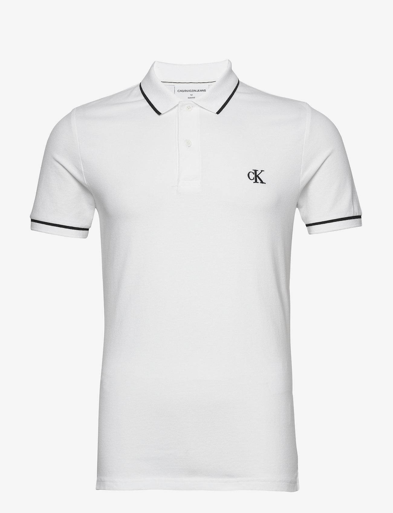 Calvin Klein Jeans - TIPPING SLIM POLO - korte mouwen - bright white - 0