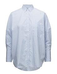 WIVA OVERSIZED SHIRT LS - BRIGHT WHITE / BLUE