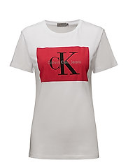 TANYA-40 CN TEE - BRIGHT WHITE / TANGO RED