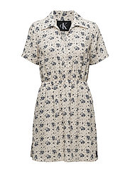DILLY DRESS  - AOP FLOWER / PEARLED IVORY COM