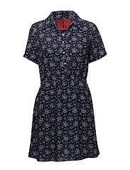 DILLY DRESS  - AOP FLOWER / PEACOAT COMBO