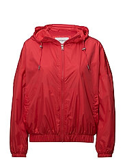 HOODED ZIP UP NYLON, - TOMATO