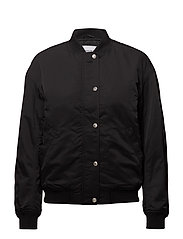 SNAP BUTTON NYLON BOMBER - CK BLACK
