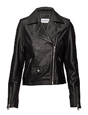 LEATHER BIKER JACKET - CK BLACK