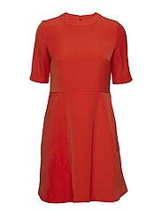 FLARED SATIN DRESS - PUMPKIN RED