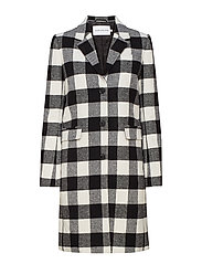 CHECK WOOL CROMBIE - BLACK/WHITE