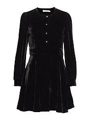 VELVET PUFF SLEEVE D - CK BLACK